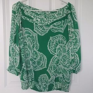 Green and white bright printed top